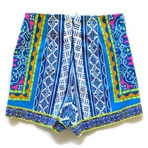 S Flying Tomato High Waist Stretch Shorts Aztec